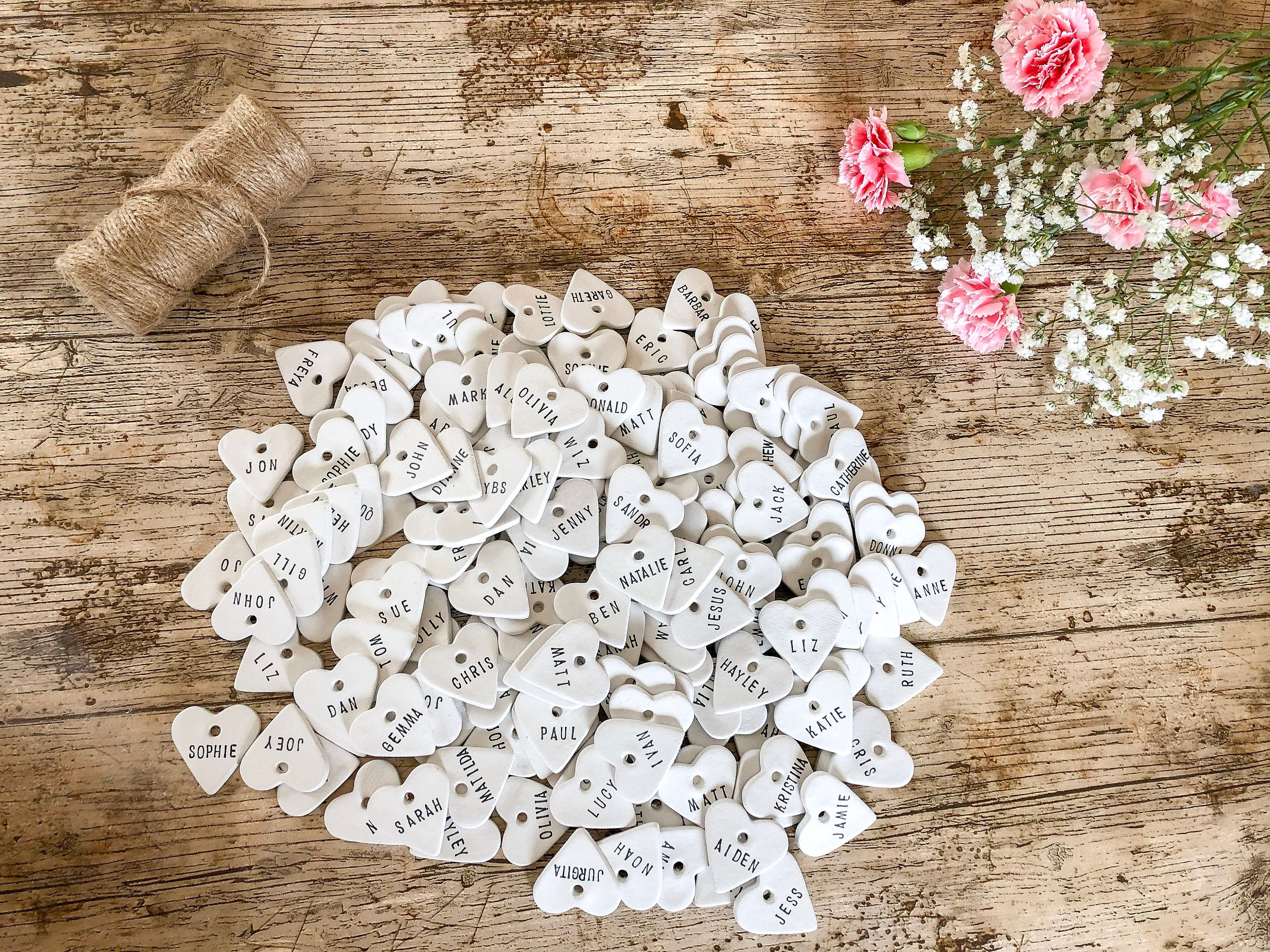10 Personalised Clay Heart Place Tags, Wedding Favour/Favor Tags ...