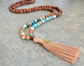 108 Mala Bead, PEACE,HARMONY And Luck Yoga Meditation Necklace, Bohemian Tassel Necklace, Mala Necklace, Wood Bead Tassel Necklace