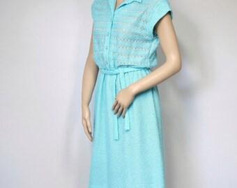 Dress Vintage Turquoise Knit Cap Sleeve Shirtwaist Petite Dress Designer 1970's Dress Size Small
