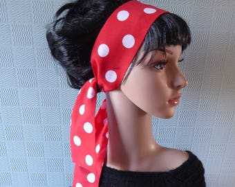 Red polka dot hair scarf, red spotted hair wrap, red polka dot headband, red and white spotted headband, red spotted hair bow