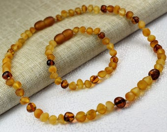 Baby Teething Necklace, Amber necklace, Amber bracelet, Amber teething necklace and bracelet set, genuine Baltic Amber, Baltic Amber