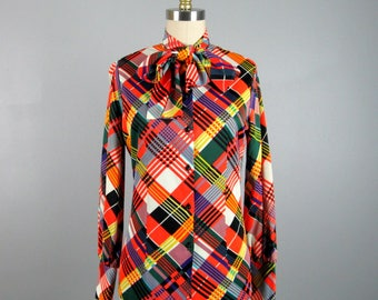 Vintage 1970s Blouse 70s Multi Colored Plaid Blouse with Ascot Bow by Jack Winter Size S/M