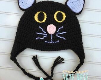 Crochet Black Cat Hat