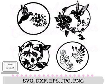 Hummingbirds SVG - Birds SVG - Digital Cutting File - Graphic Design - Vector File - Instant Download - Svg, Dxf, Jpg, Eps, Png