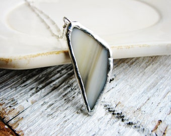 Grey Glass Pendant, Soldered Jewelry, Stained Glass Necklace, Glass Necklace, Minimalist Jewelry