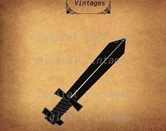 Sword Silhouette Fantasy Game Icon Illustration Vintage Digital Image Download Printable Graphic Clip Art Prints 300dpi svg png jpg