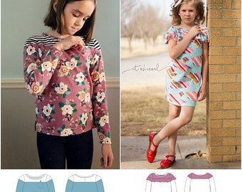 Skiff Tee and Dress PDF Pattern Bundle