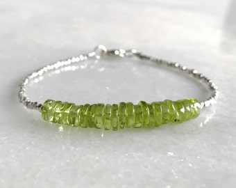 Peridot Bracelet / Natural Crystal Jewelry / Hill Tribe Silver Bead Bracelet with Green Gemstones / August Birthstone Jewelry