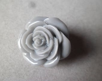 x 1 snap (jewelry) flower gray resin 21 mm
