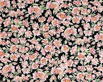 """Floral Fabric: Pink Flower on black by Dona Promo C3490 for Timeless Treasure 100% cotton fabric by yard 36""""x43"""" (TT274)"""