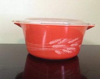 Vintage Pyrex 474 Autumn Harvest 1.5 qt Casserole Dish w/Lid