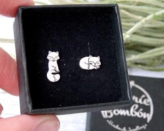 zorro pendientes / pendientes zorro plata / pendientes zorro animales salvajes / pendientes pequeños zorro / zorrito animal bosque plata 925