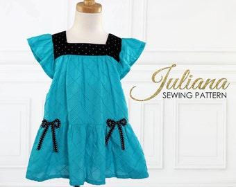 Girls Dress Pattern, Girls Sewing Pattern PDF, Dress Pattern, Childrens Sewing Pattern,  Girls Clothing Pattern, Kids Pattern, JULIANA