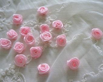 "1/2"" pink Satin Ribbon Flower Appliques -40 pcs"