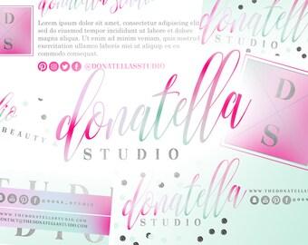 6 Piece Premade Branding Design Kit | Pink Fashion Logo Design | Glitter Branding Design Package | Fashion Blog Logo | Beauty Blog Logo
