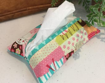 SALE Pocket Kleenex Tissue Holder Cats Kitties Pink Teal Floral Fabric Lined