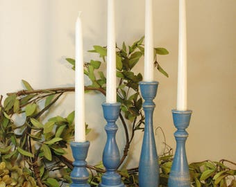 Painted Wood Candlesticks, Taper Candlesticks, Wooden Candle Sticks, Candle Centerpiece, Wedding Candles, Living Room Decor, Candle sticks