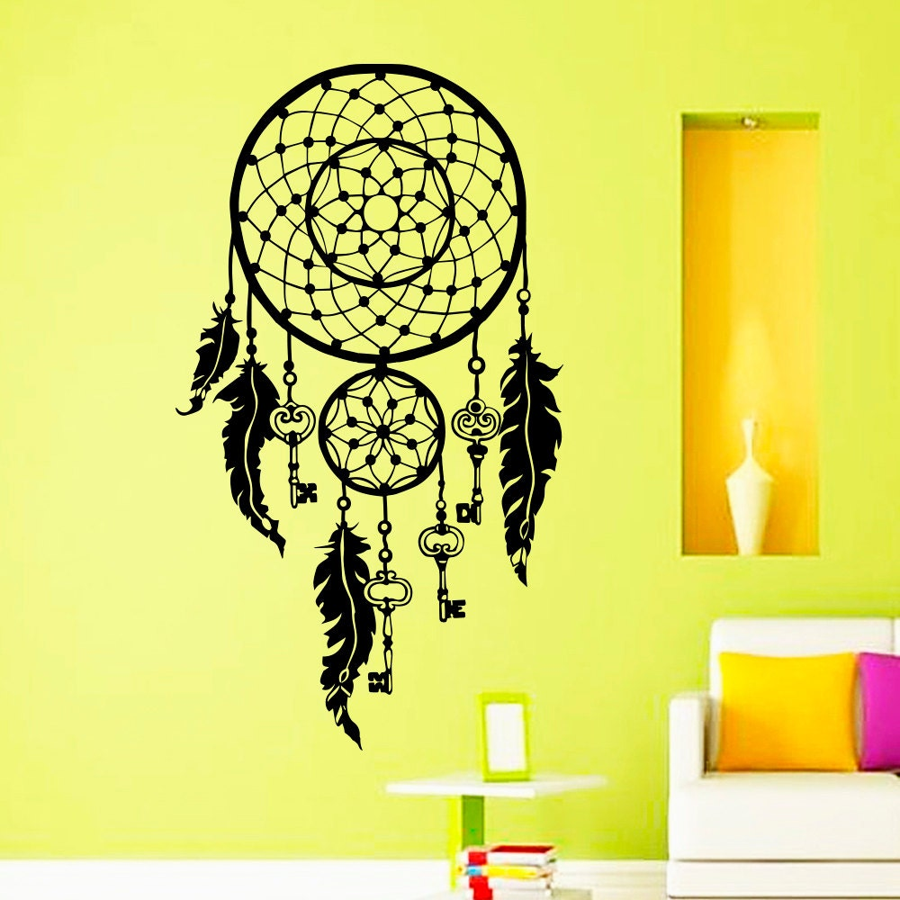 Dream Catcher Wall Decals Indian Amulet Keys Lotus Feathers