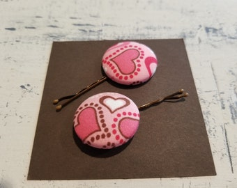 Heart Fabric Covered Button Bobby Pins Set of 2