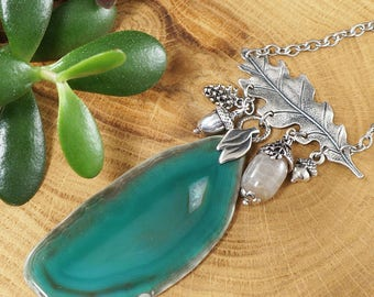 Necklace with green Agate slice, Forest Miracle (#7195)