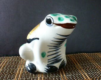 Tonala Mexican Frog Ceramic Hand Painted and Signed Floral Design