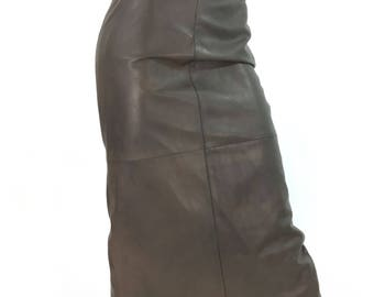 90s brown leather midi skirt/vintage brown leather skirt