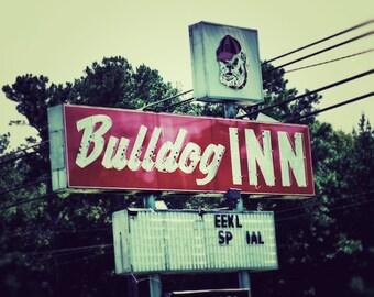 Georgia Bulldog Inn, UGA College Art Print, Alumni Wall Decor, GO DAWGS, Industrial Decor