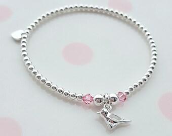 Sparrow Bracelet/Bird Bracelet/Silver Bird Bracelet/Sterling Silver Bird Bracelet/Bird Jewelry/Bird/Gift for Girls/Gift For Her