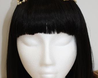 Regal Crown Lolita Medieval Tiara Headband - Gold (MADE TO ORDER)