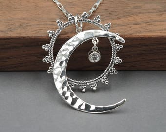 Celestial Jewelry - Sun and Moon Necklace, moon jewelry, moon phase, sterling silver, moon pendant
