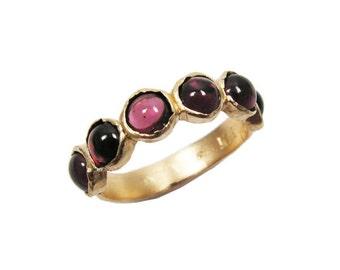 Gold ring. Garnet gold ring. Garnet ring. Garnet jewelry. Gold jewelry. Dainty gold ring. Gold dainty ring. Garnet gold ring. (gfr9531-256)
