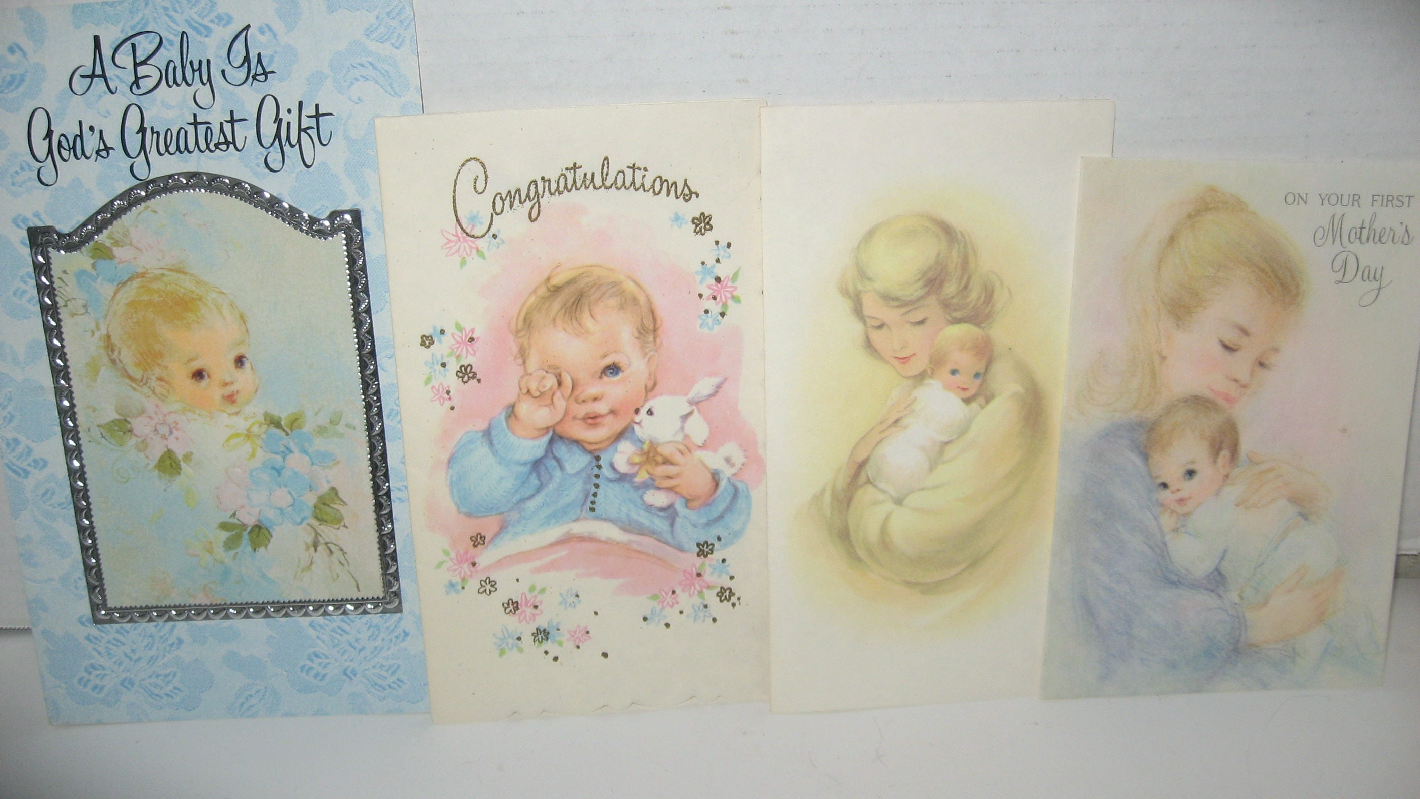 4 Vintage Welcome Baby Mothers Day Cards Hallmark