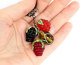 Glass Berries Pendant, lampwork, glass pendant, murano glass, glass berries, glass jewelry, lampwork jewelry