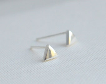 SALE! Sterling Silver 925 Tiny Earrings, Tiny Silver Post Earrings, Silver Studs, Mini Earrings, Triangle Earrings, Minimalist Earrings