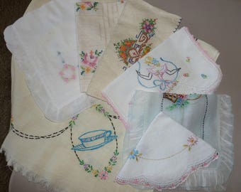 Sweet Assortment of Vintage Linins / All have Needle work