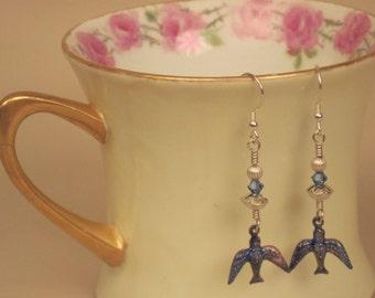 Enamel & Sterling Silver Earrings