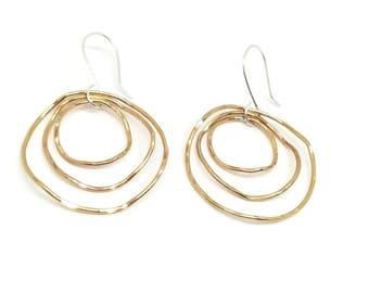 Gold Hoop Earrings / Gold Triple Hoop Earrings / Gold Wavy Hoop Earrings