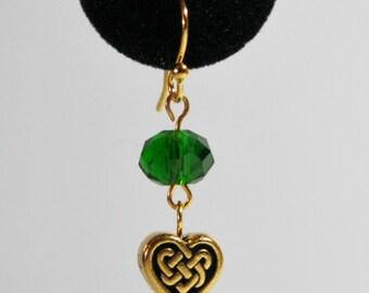 Celtic Heart Earrings- gold
