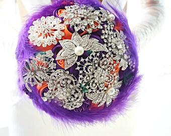 Bouquet Valerie, brooch bouquet, feathers, wedding bouquet
