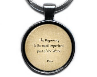 """Plato """"The beginning is the most important part of the work."""" Keychain Keyring"""
