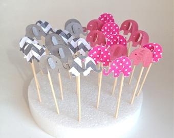 Twenty Four Gray Chevron And Pink Polka Dot  Elephant Cupcake Toppers - Party Picks - Food Picks