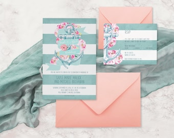 Nautical Wedding Invitations for Nautical Weddings / Floral Anchor , Blue Stripes & Coral Pink Flowers / PRINTED Cottage Chic Ocean Weddings