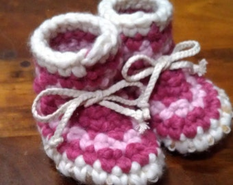 Striped Crocheted Baby Slipper with Sheepskin Sole