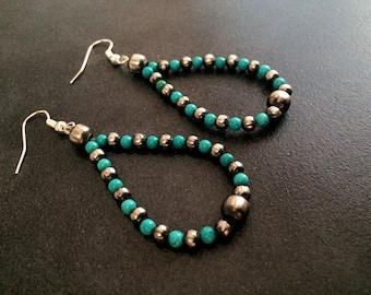 Navajo Pearls Earrings turquoise dangles