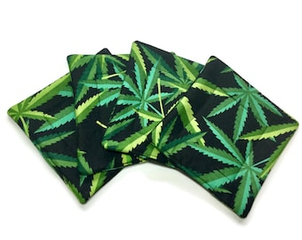 Handmade Quilted Coasters Cannabis Marijuana Pot Leaves set of 4 Alexander Henry