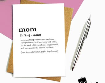 Mom Definition Card, Mother's Day, Cards for Mom, Cards for Mother, Love You Mom, Mother's Birthday, Anniversary, Mother Gift,Greeting Cards
