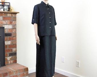 90s linen dress shirt set / vintage black maxi dress + button up shirt / minimalist clothing set