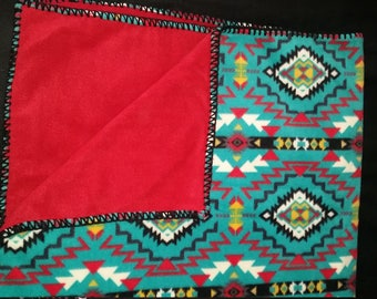 Double Layer Southwest Fleece Blanket (Colors - Turquoise, Teal, Red, Black, Red backing)