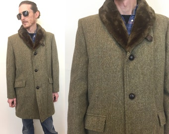 Vintage men's A Maine Guide Congress warm Coat mid century modern jacket brown tweed wool lined faux fur warm winter size 40 Medium M