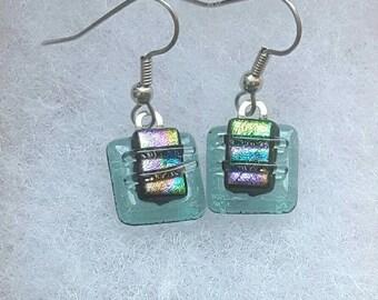 Green dichroic glass earrings,  Fused glass jewelry, Art glass earrings, Dangle earrings, Kiln fired glass earrings, Fused glass, EA231